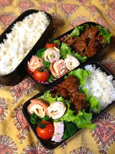 Twitter from @kumaizumi 本日のお弁当■ハンバーグデミグラスソース、ブロッコリーとハムチーズとハムサーモンのサラダ #wmjp #obento #obentoart