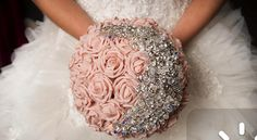 Pink bedazzled flowers for a pink wedding. Pinned by #PinkPad, the women's health app. pinkp.ad