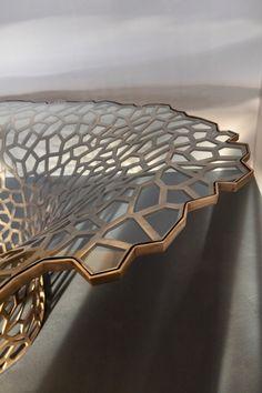 David Wiseman | Large Lattice Vortex Dining Table Natural World, Art Decor, Tables, Dining Table, David, Bronze, Glass, Inspiration, Design