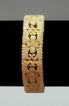 Carved Ox Bone Bracelet, Stretch Panel Link Bracelet, Link Bracelet, Ox Bone Jewelry by RustedPickle on Etsy