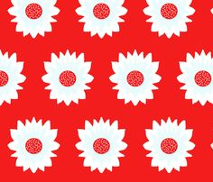A Flower Named Alice (on red) fabric by majoranthegeek on Spoonflower - custom…