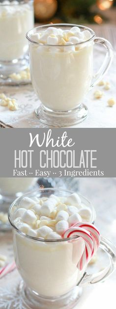 Hot Chocolate - A simple recipe for sweet and creamy homemade white hot chocolate that is ready in minutes!White Hot Chocolate - A simple recipe for sweet and creamy homemade white hot chocolate that is ready in minutes! Christmas Drinks, Holiday Drinks, Christmas Baking, Holiday Recipes, Christmas Recipes, Holiday Appetizers, Hot Chocolate Bars, Hot Chocolate Recipes, Chocolate Smoothies