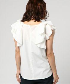 DRESSLAVE(ドレスレイブ)の「romano ricot frill t-blouse(トリコット肩フリルリボンブラウス)(シャツ/ブラウス)」|詳細画像
