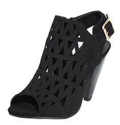 Top Moda Women's Pen-10 Geometric Cut Out Caged Peep Toe Heeled Sandal (8 B(M) US, Black) >>> Check out the image by visiting the link. We are a participant in the Amazon Services LLC Associates Program, an affiliate advertising program designed to provide a means for us to earn fees by linking to Amazon.com and affiliated sites.