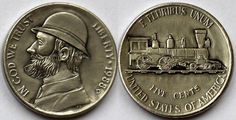 Marcus Hunt - Two Sided Jefferson Hobo Nickel, Antique Coins, Metal Art, Jewelry Collection, Carving, Scrapbook, Antiques, Trains, Artist
