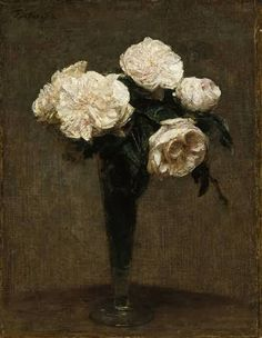 Henri Fantin Latour, Roses in a Vase, (1872)