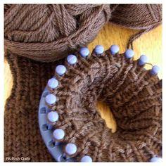Loom knitted fingerless gloves