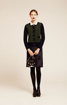 orla kiely fall 2014 - buttoned cardigan with knee length skirt. excellent pattern mixing