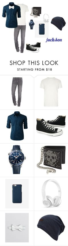 """""""Jackson"""" by rainbowdragon1 ❤ liked on Polyvore featuring True Religion, River Island, LE3NO, Converse, OMEGA, Alexander McQueen, Express, Beats by Dr. Dre, Yves Saint Laurent and men's fashion"""