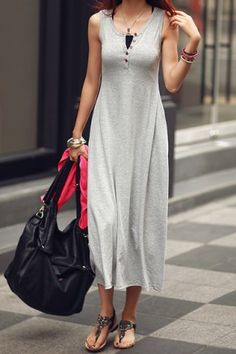 Casual Style Scoop Collar Solid Color Button Embellished Sleeveless Women's Dress