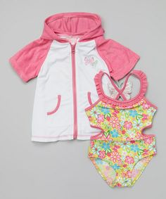 Another great find on #zulily! Yellow Floral Cutout One-Piece & Cover-Up - Infant & Toddler #zulilyfinds