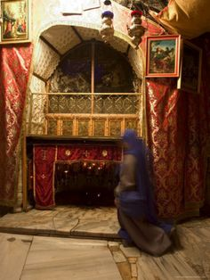 Nun Inside the Church of the Nativity (Birth Place of Jesus Christ), Bethlehem, Israel.