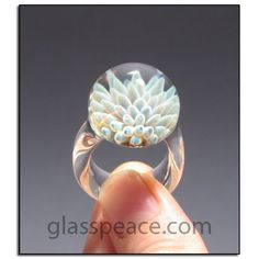 Blue Glass Ring sea anemone boro lampwork ring size 9 by Glass Peace $45.00