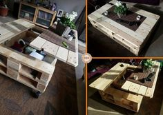 A Collection of 16 Beautiful Coffee Table Ideas and Projects. These easy DIY coffee table furniture projects will Beautify Your Home! Diy Craft Projects, Pallet Crafts, Diy Pallet Projects, Pallet Ideas, Recycling Projects, Coffee Table Plans, Diy Coffee Table, Coffee Table With Storage, Diy Table