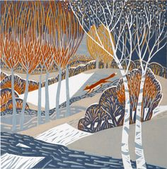 """Cold Snap"" by Annie Soudain (linocut) Art And Illustration, Illustrations, Linocut Prints, Art Prints, Gravure Photo, Linoprint, Wood Engraving, Woodblock Print, Landscape Art"