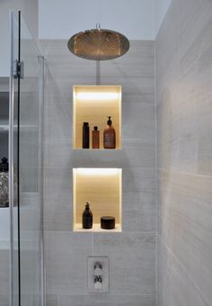 Browse images of modern Bathroom designs: Apartment Renovation. Find the best ph… Browse images of modern Bathroom designs: Apartment Renovation. Find the best photos for ideas & inspiration to create your perfect home. Modern Bathroom Design, Bathroom Interior Design, Modern Bathrooms, Bath Design, Luxury Bathrooms, Lighting For Bathrooms, Recessed Shower Lighting, Modern Interior Doors, Niche Design
