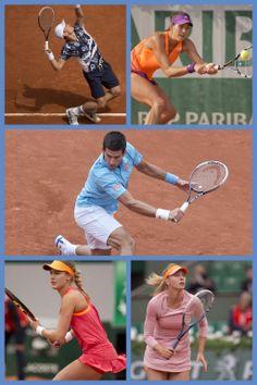 Eugenie Bouchard, Maria Sharapova, Garbiñe Muguruza, Tomáš Berdych, and Novak Djokovic fight it out at the French Open.