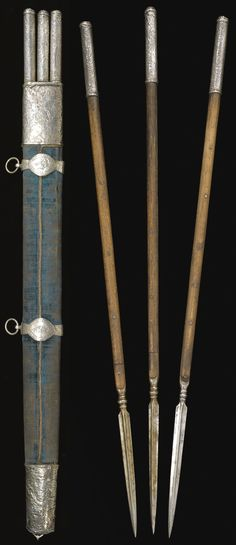 Ottoman throwing spears (Jarids) and quiver, circa 1680, the plain steel…