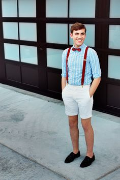 Hat bershka, vintage bow tie, pull and bear shirt, zara shor Blue Suit Wedding, Wedding Suits, Wedding Attire, Wedding Photoshoot, Suspenders And Tie, Suspenders Outfit, Topman Shorts, Formal Attire For Men, Casual Grooms