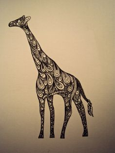 Pen and Ink Giraffe  (This inspires me to attempt something similar...perhaps one of the greyhounds I have loved.)
