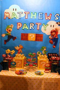 Mario Themed Birthday Party Desserts