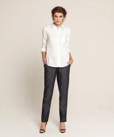 Classic Linen Shirt - White, Embroidered Lounge Pants - Dark Indigo
