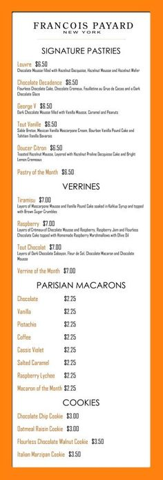 The menu at Francois Payard at The Plaza Food Hall