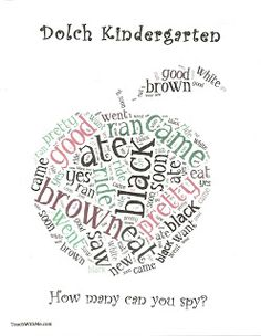 Dolch Word Art Anchor Charts