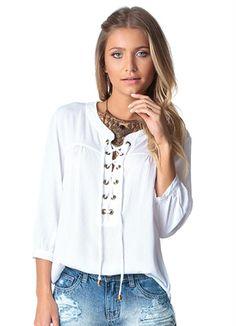 f348c513e54 Blusa de Viscose Branco Doce Trama - Compre em até 5X sem juros na loja Doce