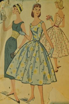 Junior Dress with Slim or Full Skirt and Cummerbund Size 13 Bust 31 Vintage 1950s Sewing Pattern McCall's 3698 Great for Prom or Homecoming. $20.98, via Etsy.