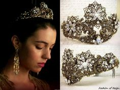 In the first trailer for the fourth season of Reign we see Queen Mary wearing this Rabbitwood & Reason 'Celestia' Tiara ($1,000/coming soon). Worn with Reign Costumes custom dress, Percossi Papi earrings.