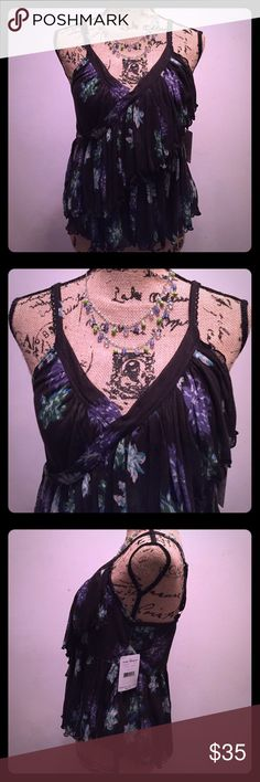 """Free People Melbourne printed Crop Tank, NWT Free People Melbourne printed crop tank featuring a surplice V-neckline and ruffled layers. This semi-sheer style has scalloped trim and adjustable straps. 100% Polyester, Machine Wash Cold. Bust: 30"""".  Length: 18.5"""". Free People Tops Tank Tops"""