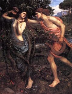 "Apollo and Daphne -Artist: John William Waterhouse Completion Date: 1908 Style: Romanticism Genre: mythological painting Technique: oil Material: canvas Dimensions: 142.88 x 111.44 cm Tags: Greek-and-Roman-Mythology, gods-and-goddesses, Apollo-and-Daphne, Ovid-""Metamorphoses"""