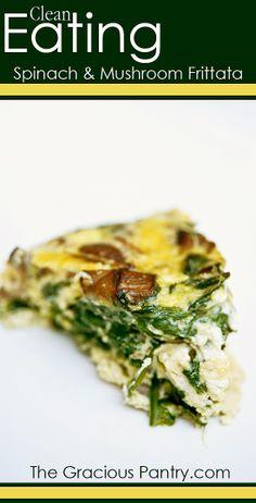 Spinach & Mushroom Frittata | via @The Gracious Pantry (Tiffany McCauley) #CleanEating #LowCarb