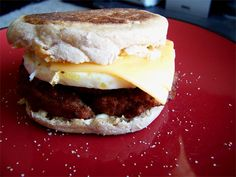 UnSausage McMuffin!  * english muffin, toasted  * butter, optional  * morningstar farms breakfast patty, microwaved 45 seconds  * egg, optional  * cheddar cheese slice