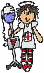 Concord Collections Embroidery Design: Nurse With IV 3.28 inches H x 1.95 inches W