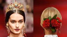 Spotted at Dolce & Gabbana: Real Flower Chignons