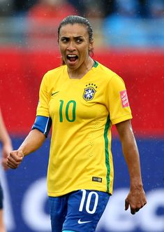 Marta Vieira da Silva of Brazil reacts in the second half against Australia during the FIFA Women's World Cup 2015 round of 16 match between Brazil and Australia at Moncton Stadium on June 21 2015 in Moncton Canada. Football Players Images, Female Football Player, Brazil Football Team, Worldcup Football, Sport Motivation, Fifa Women's World Cup, International Football, Rio Olympics 2016, Soccer World