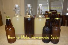 Step by step instruction on how to make homemade soda. Plus recipes for root beer and ginger ale, as well as instructions on bottling homemade soda. Carbonated Drinks, Non Alcoholic Drinks, Beverages, Cocktails, Cold Drinks, Refreshing Drinks, Yummy Drinks, Healthy Drinks, Soda Syrup