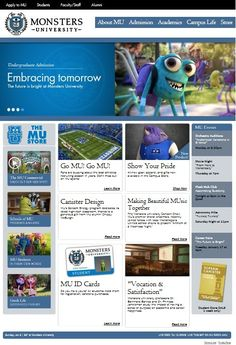 Monster's, Inc. Monsters University website. Great for teaching careers and college readiness.  www.elementaryschoolcounseling.org