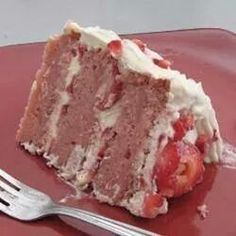 2 Jennifer Lankford Ritch STRAWBERRIES & CREAM CAKE  INGREDIENTS: 2 3/4 cups cake flour 2 1/2 teaspoons baking powder 2 cups white sugar 1 (3 ounce) package strawberry flavored Jell-O® 1 cup butter, softened 4 eggs 1 cup milk 1 teaspoon vanilla extract 1/2 cup strawberries, pureed  1 1/2 cups heavy cream 2 tablespoons sugar 1/2 teaspoon vanilla extract 1 1/2 cups fresh strawberries, sliced  1/2 cup margarine, softened 1 (8 ounce) package cream cheese, softened 4 cups confectioners' sugar 2…