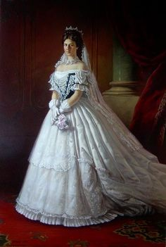 "Formal Portrait by unknown artist of Empress Elisabeth ""Sissi"" (Elisabeth Amalie Eugenie) Dec Sep Bavaria in wearing her Hungarian Coronation Dress in Sissi was the wife of Emperor Franz Joseph I Aug Nov Austria. Vintage Outfits, Vintage Dresses, Historical Costume, Historical Clothing, Victorian Fashion, Vintage Fashion, Court Dresses, Old Dresses, Period Outfit"