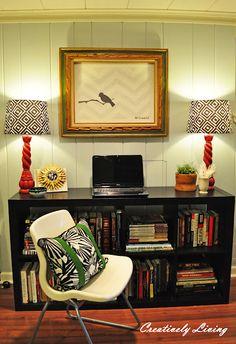 homeschooling space #bookshelves #lamps #chevron