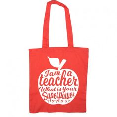 Check out Teacher tote RED gift idea. Great as appreciation gift for teacher on national teachers day . Teacher tote bag or fitness bag on studioinktvis World Teacher Day, World Teachers, Your Teacher, School Teacher, Teacher Gifts, Teacher Appreciation Quotes, Teacher Tote Bags, Doctor Gifts, Teachers' Day