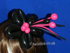 Black and Pink Flower Balloon Fascinator By Twistina