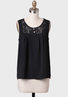 Bridgewood Lace Detail Blouse at #Ruche @Ruche || DIY idea: lace tank top pattern, solid gathered bottom, buttons ||