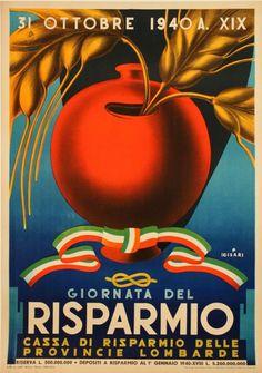 Vintage Italian Posters ~  By Giulio Cisari, 1940, Giornata del Risparmio…