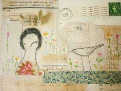 ARTWORK ORIGINAL : Mixed media collage envelope by hensteeth