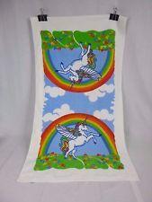 "Vtg Rainbow Unicorn Bath Beach Towel Kitschy Kitsch Fantasy 22.5"" x 41"""