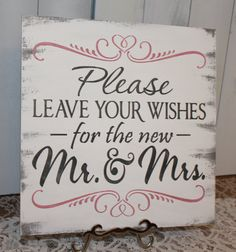 Guest Book/Please Leave Your Wishes For the New MR and MRS/Wedding Sign/Photo Prop/U Pick Color/Great Shower Gift/Vineyard/Rustic/Coral on Etsy, $27.95
